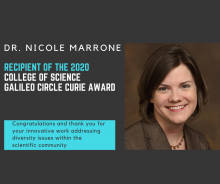 Nicole Marrone, recipient of CoS Curie Award