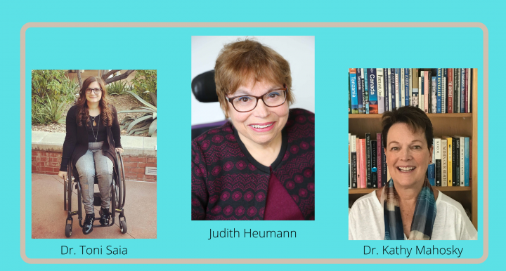 The speakers for the 2021 Workshop are listed: Dr. Toni Saia, Judith Heumann, and Dr. Kathy Mahosky